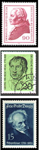 Stamps with the likenesses of philosophers